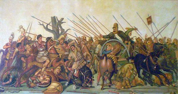 Old oil painting of the Alexander mosaic